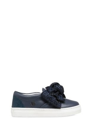 Bow Embellished Nappa Leather Sneakers (blauw)