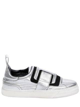 Crackled Metallic Leather Sneakers (zilver)