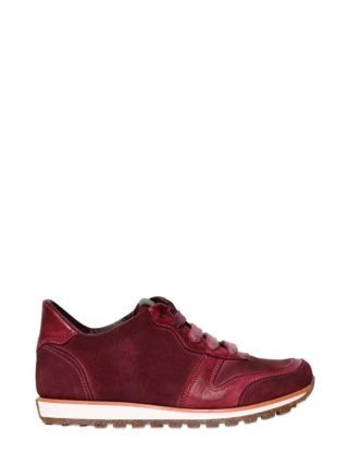 Leather And Suede Running Sneakers (rood)