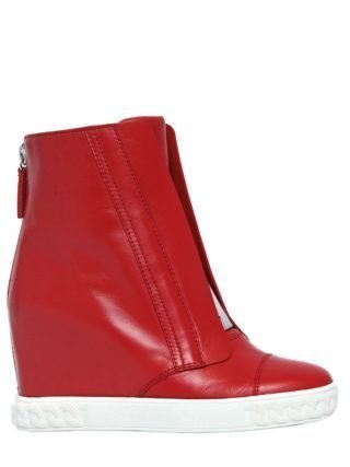 80mm Leather Wedge Sneakers (rood/zilver)