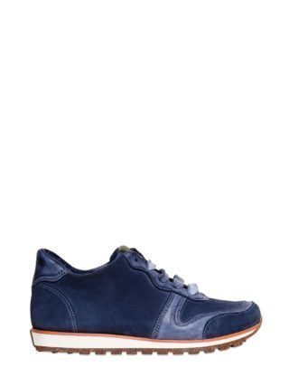 Leather And Suede Running Sneakers (blauw)