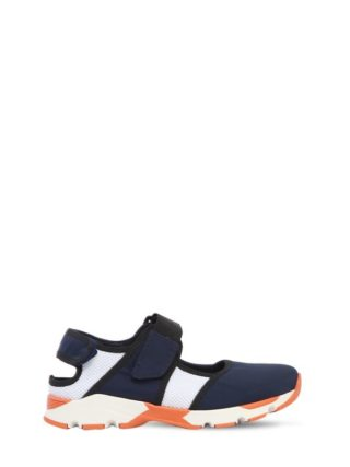 Neoprene & Mesh Strap Sneakers (blauw/wit)