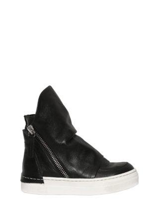 Leather High Top Sneakers (zwart)