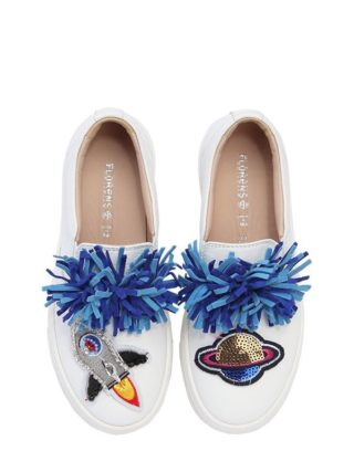 Embellished Leather Slip-on Sneakers (wit)