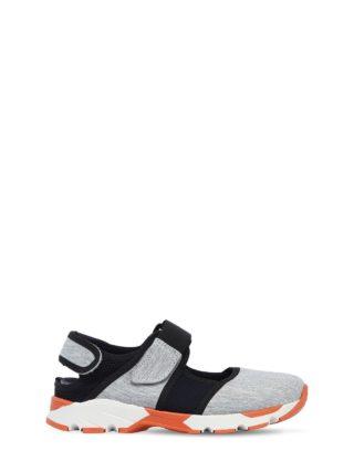 Cotton Jersey & Mesh Strap Sneakers (grijs/zwart)
