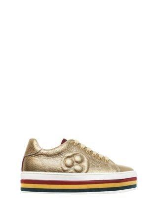 Metallic Textured Leather Sneakers (goud)