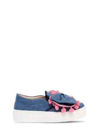Bow Denim Slip-on Sneakers (blauw)