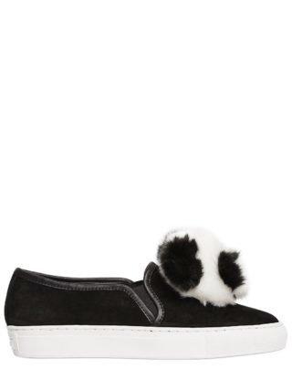 20mm Joy Panda Suede Slip On Sneakers (zwart)