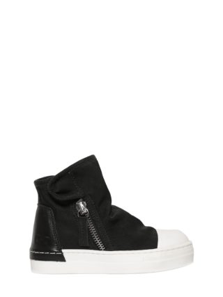 Stretch Cotton Canvas High Top Sneakers (zwart)