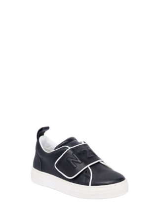 Logo Leather Strap Sneakers (blauw)