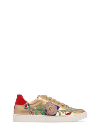 Embroidered Faux Leather Sneakers (goud)