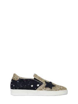 Star Glitter Leather Slip-on Sneakers (goud)