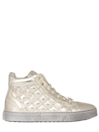 Quilted Lamé Nappa High Top Sneakers (goud)