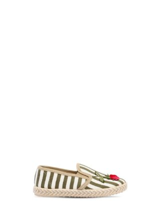 Striped Linen Canvas Slip-on Sneakers (wit/groen)