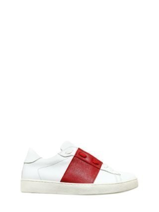 Two Tone Leather Slip-on Sneakers (wit/rood)