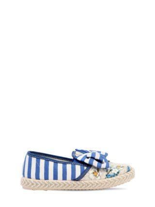 Striped Linen Canvas Slip-on Sneakers (wit/blauw)