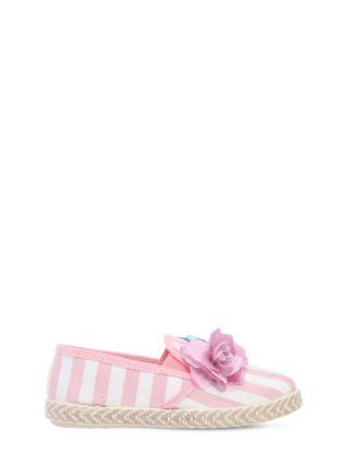 Striped Linen Canvas Slip-on Sneakers (wit/roze)