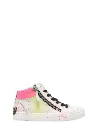 Paint Splattered Nappa Leather Sneakers (wit)