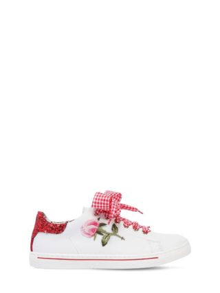 Rose Patch Leather Sneakers (wit)