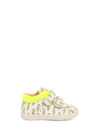 Bolt Printed Leather Strap Sneakers (wit)