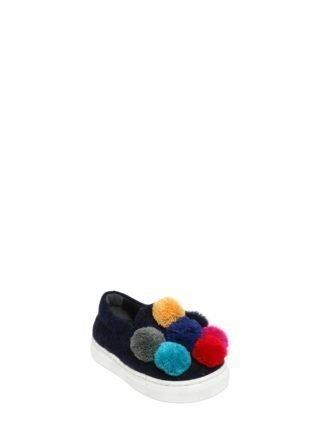 Wool Felt Slip-on Sneakers W/ Pompoms (blauw)