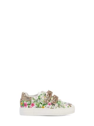Jungle Book Faux Leather Strap Sneakers (wit)