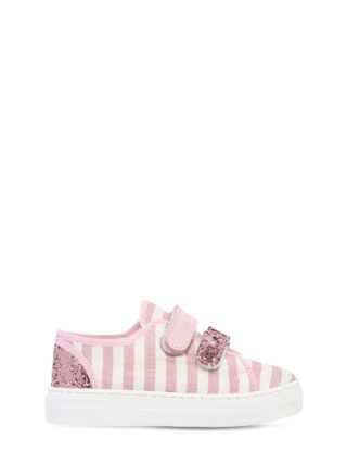 Striped Linen Canvas Strap Sneakers (roze)