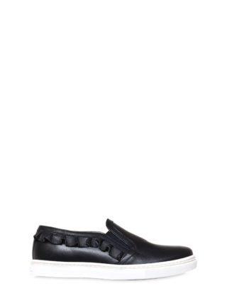 Ruffle Nappa Leather Slip-on Sneakers (blauw)
