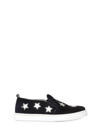Suede Slip-on Sneakers W/ Star Patches (blauw)