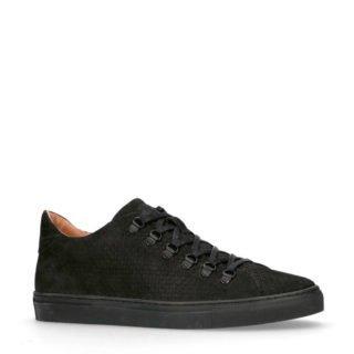 Manfield Black Label suède sneakers met reptielenprint (heren) (zwart)