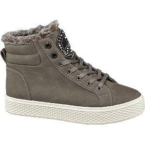 Graceland Grijze halfhoge sneaker bont