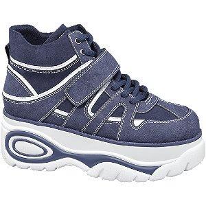 Graceland Blauwe halfhoge sneaker plateauzool