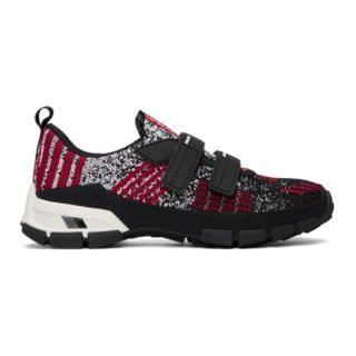Prada Black and Red Knit Sneakers