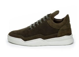 Filling Pieces Low Top Ghost Waxed Suede (Dark Green)