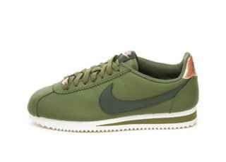 Nike Wmns Classic Cortez Leather (Olive Canvas / Sequoia - Metallic Re