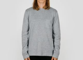 Saturdays NYC James L/S Double Knit Wool Tee (Ash Heather)