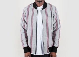 Stussy Wool Stripe Bomber Jacket (Grey)