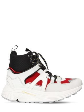 30mm Brooklyn Leather High Top Sneakers (wit/zwart/rood)