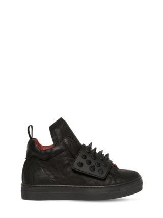 Spikes Nappa Leather High Top Sneakers (zwart)