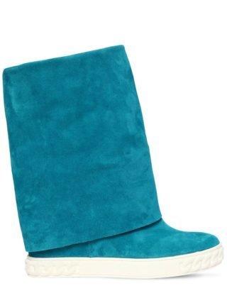 80mm Suede Wedge Sneakers (blauw)