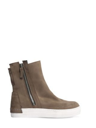 Zip-up Nubuck High Top Sneakers (beige)