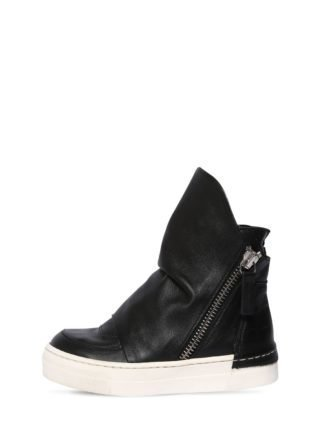 Nappa Leather High Top Sneakers (zwart)