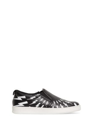Bolts Print Leather Slip-on Sneakers (zwart)