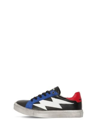 Color Block Leather Sneakers (zwart)