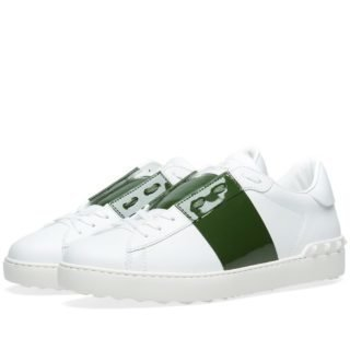 Valentino Open Low Top Patent Sneaker (White)