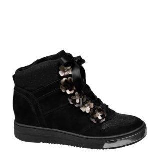 vanHaren Venice sneakers met inwendige sleehak zwart (dames) (zwart)