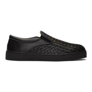 Bottega Veneta Black Intrecciato Dodger Slip-On Sneakers