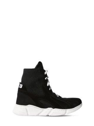 Knit & Suede Slip-on High Top Sneakers (zwart)