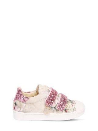 Floral Print Velvet Strap Sneakers (roze)