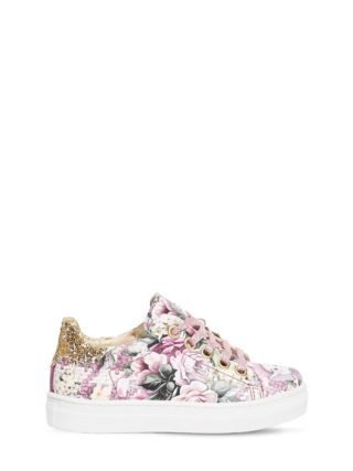 Bianca Floral Faux Leather Sneakers (roze)
